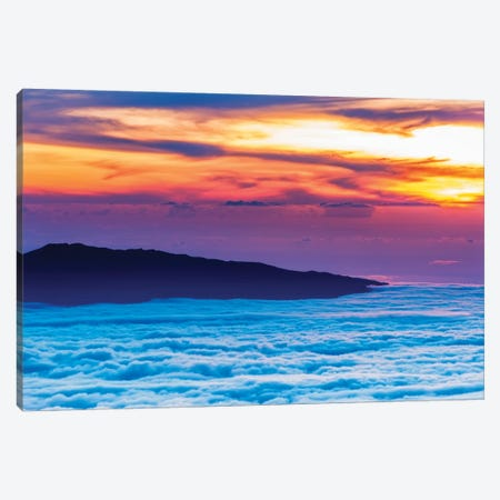 Hualalai Volcano from the summit of Mauna Kea at sunset, Big Island, Hawaii, USA Canvas Print #RBS100} by Russ Bishop Art Print