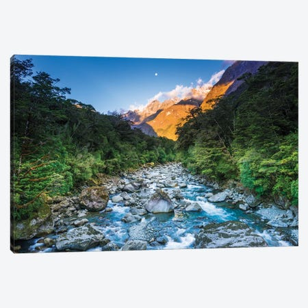 Moonrise over Mount Madeline and the Tutoko River, Fiordland National Park, South Island Canvas Print #RBS108} by Russ Bishop Canvas Art Print