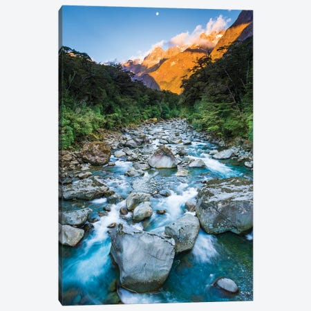 Moonrise over Mount Madeline and the Tutoko River, Fiordland National Park, South Island Canvas Print #RBS109} by Russ Bishop Canvas Print