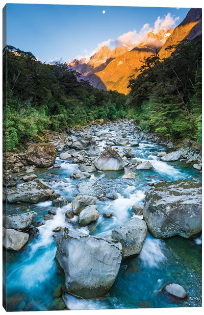 Moonrise over Mount Madeline and the Tutoko River, Fiordland National Park, South Island Canvas Art Print