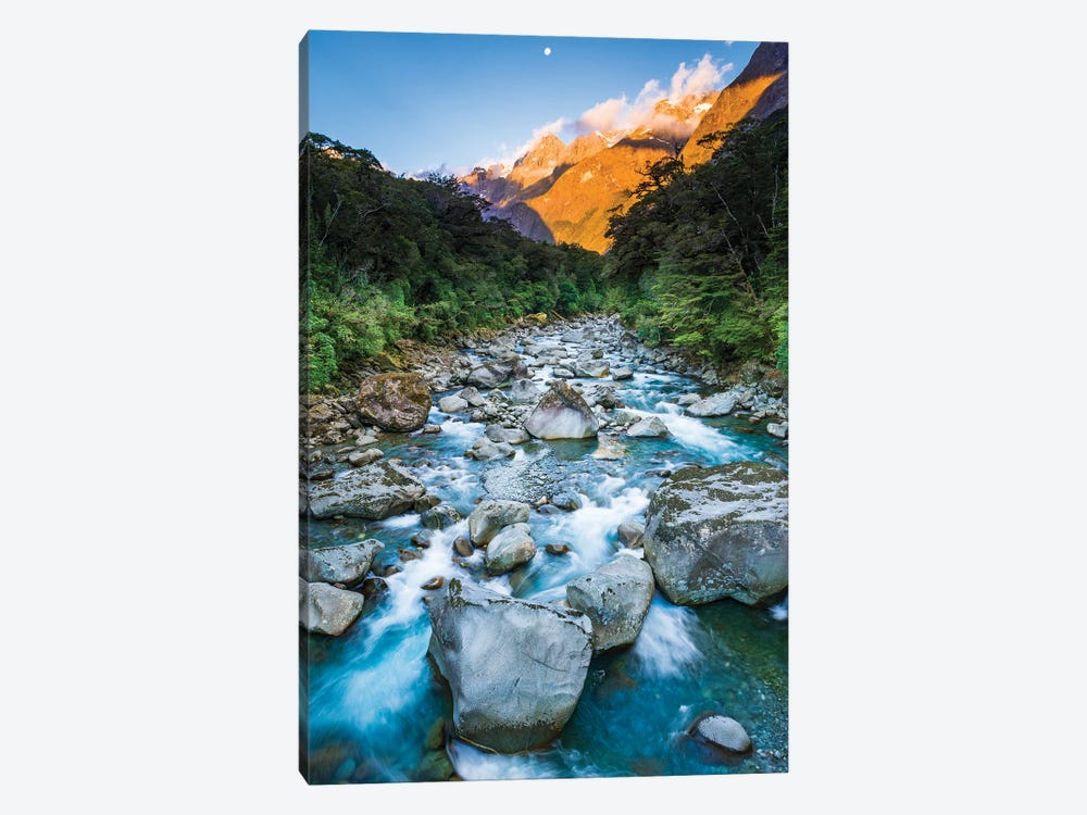 Moonrise over Mount Madeline and the Tutoko River, Fiordland National Park, South Island by Russ Bishop 1-piece Canvas Print