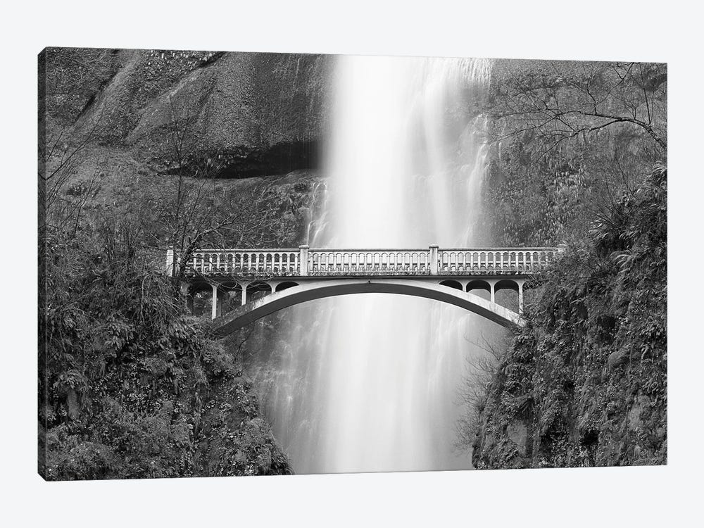 Multnomah Falls and bridge, Mount Hood National Forest, Columbia Gorge National Scenic Area, Oregon by Russ Bishop 1-piece Canvas Print