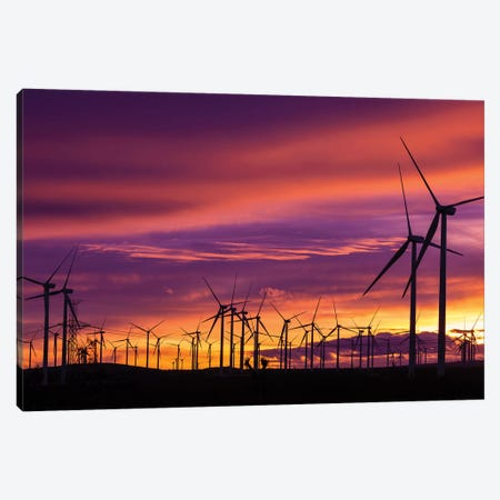 Silhouetted wind turbines at sunset, Mojave, California, USA Canvas Print #RBS117} by Russ Bishop Canvas Print