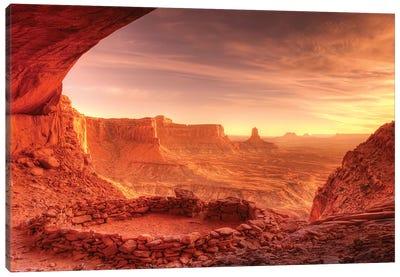 Evening light on False Kiva, Island in the Sky, Canyonlands National Park, Utah, USA Canvas Art Print