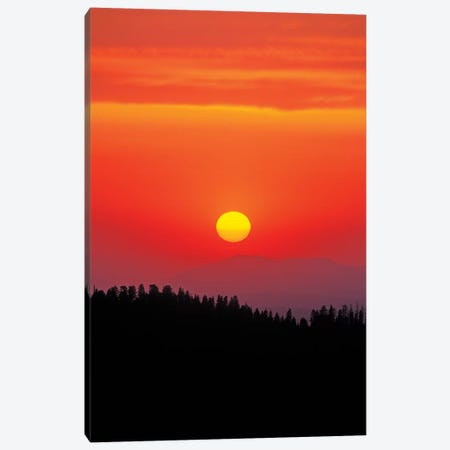 Sunset over the Sierra Nevada foothills from Moro Rock, Giant Forest, Sequoia NP, California Canvas Print #RBS122} by Russ Bishop Canvas Art Print