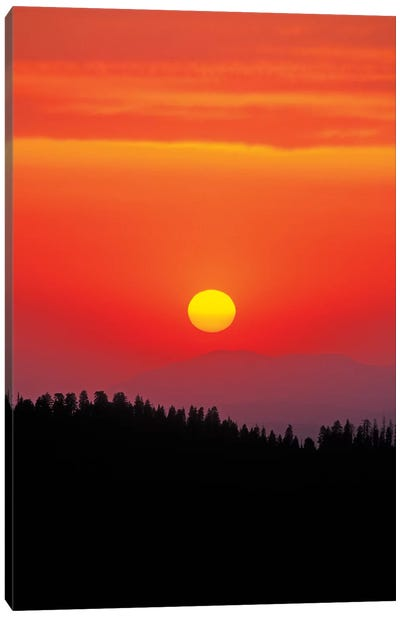 Sunset over the Sierra Nevada foothills from Moro Rock, Giant Forest, Sequoia NP, California Canvas Art Print