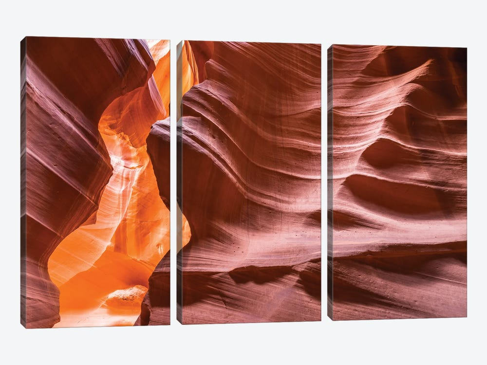 Slickrock formations in upper Antelope Canyon, Navajo Indian Reservation, Arizona, USA. by Russ Bishop 3-piece Canvas Artwork