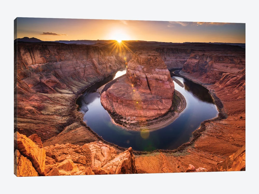 Sunset over Horseshoe Bend and the Colorado River, Glen Canyon National Recreation Area, Arizona, USA. by Russ Bishop 1-piece Art Print