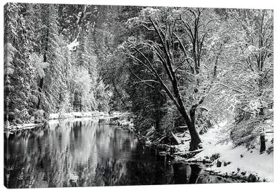 Merced River and Cathedral Rock in winter, Yosemite National Park, California, USA Canvas Art Print