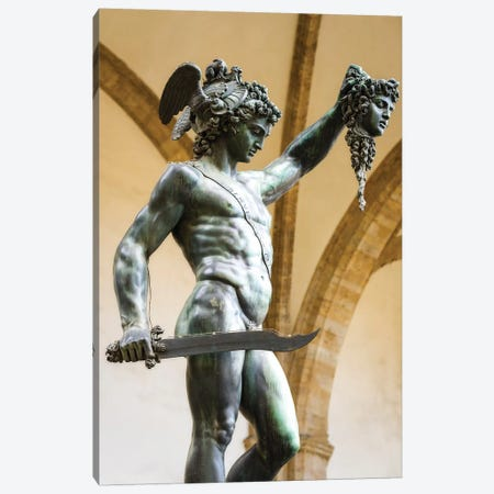 Perseus and Medusa statue at Loggia dei Lanzi, Florence, Tuscany, Italy Canvas Print #RBS22} by Russ Bishop Art Print