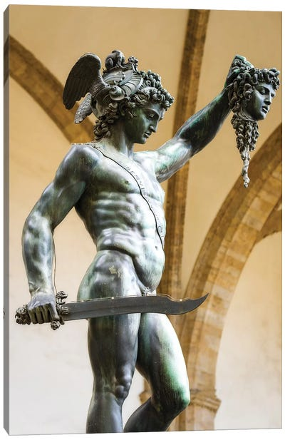 Perseus and Medusa statue at Loggia dei Lanzi, Florence, Tuscany, Italy Canvas Art Print