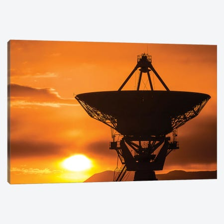 Radio telescope at sunset, Socorro, New Mexico, USA Canvas Print #RBS23} by Russ Bishop Canvas Print