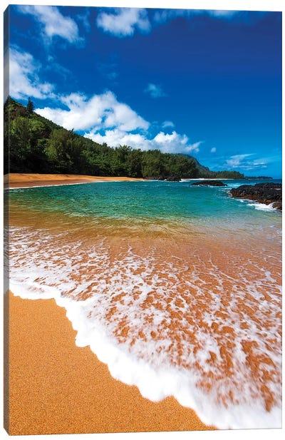 Sand and surf at Lumahai Beach, Island of Kauai, Hawaii, USA Canvas Art Print