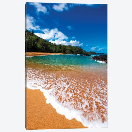 Sand and surf at Lumahai Beach, Island of Kauai, Hawaii, USA Canvas Print #RBS25} by Russ Bishop Canvas Wall Art