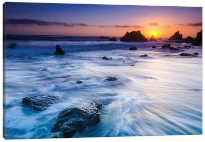 Sea stacks at sunset, El Matador State Beach, Malibu, California, USA Canvas Art Print
