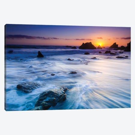 Sea stacks at sunset, El Matador State Beach, Malibu, California, USA Canvas Print #RBS29} by Russ Bishop Canvas Print