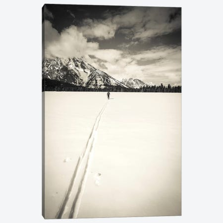 Backcountry skier under Mount Moran, Grand Teton National Park, Wyoming, USA  3-Piece Canvas #RBS2} by Russ Bishop Art Print