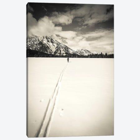 Backcountry skier under Mount Moran, Grand Teton National Park, Wyoming, USA  Canvas Print #RBS2} by Russ Bishop Art Print