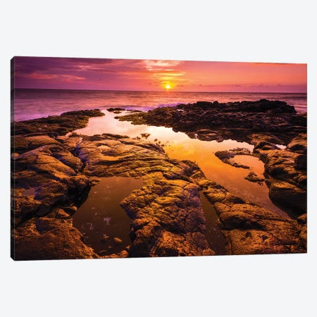 Sunset and tide pool above the Pacific, Kailua-Kona, Hawaii, USA Canvas Print #RBS34} by Russ Bishop Canvas Print