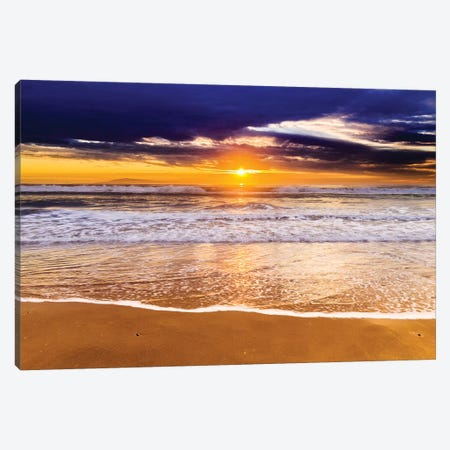 Sunset over the Channel Islands from San Buenaventura State Beach, Ventura, California, USA I Canvas Print #RBS35} by Russ Bishop Canvas Art Print