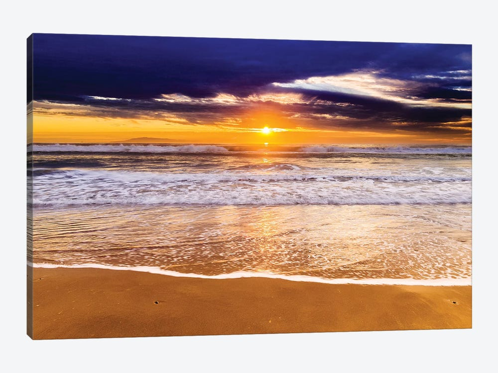 Sunset over the Channel Islands from San Buenaventura State Beach, Ventura, California, USA I by Russ Bishop 1-piece Canvas Wall Art