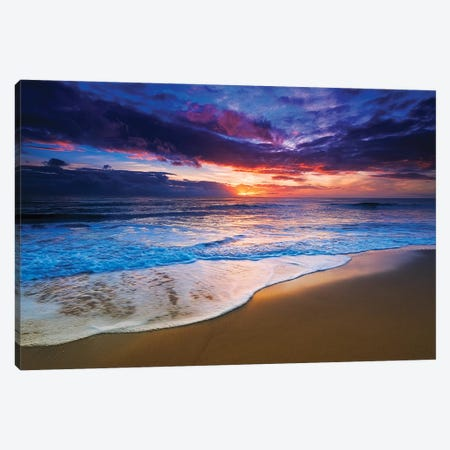 Sunset over the Channel Islands from San Buenaventura State Beach, Ventura, California, USA II Canvas Print #RBS36} by Russ Bishop Canvas Print