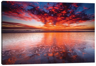 Sunset over the Channel Islands from Ventura State Beach, Ventura, California, USA Canvas Art Print