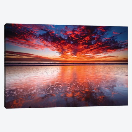 Sunset over the Channel Islands from Ventura State Beach, Ventura, California, USA Canvas Print #RBS37} by Russ Bishop Canvas Art Print
