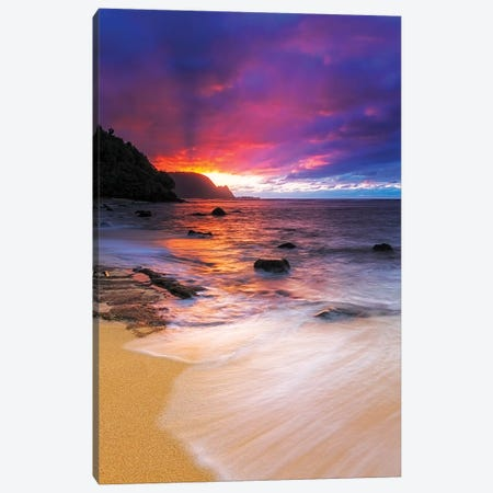 Sunset over the Na Pali Coast from Hideaways Beach, Princeville, Kauai, Hawaii, USA Canvas Print #RBS38} by Russ Bishop Canvas Wall Art