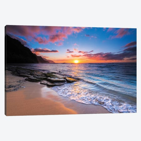 Sunset over the Na Pali Coast from Ke'e Beach, Haena State Park, Kauai, Hawaii, USA I Canvas Print #RBS39} by Russ Bishop Canvas Art