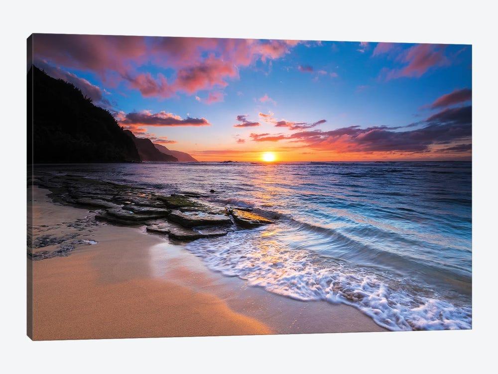 Sunset over the Na Pali Coast from Ke'e Beach, Haena State Park, Kauai, Hawaii, USA I by Russ Bishop 1-piece Canvas Artwork