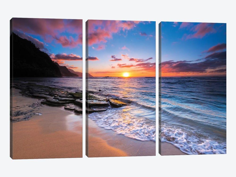 Sunset over the Na Pali Coast from Ke'e Beach, Haena State Park, Kauai, Hawaii, USA I by Russ Bishop 3-piece Canvas Art