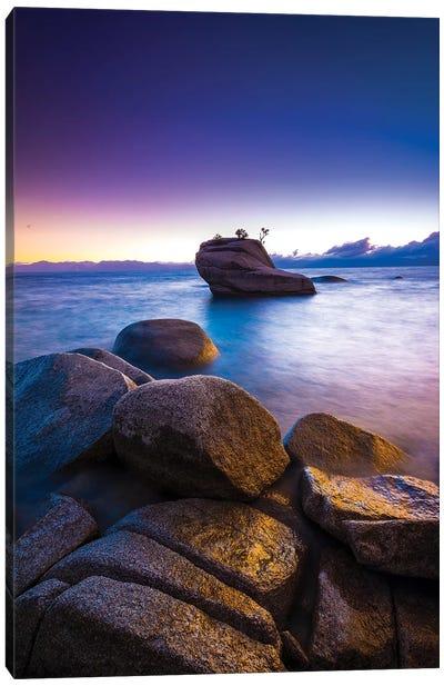 Bonsai Rock at sunset, Lake Tahoe, Nevada, USA Canvas Art Print