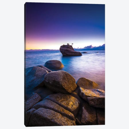 Bonsai Rock at sunset, Lake Tahoe, Nevada, USA Canvas Print #RBS3} by Russ Bishop Canvas Art Print