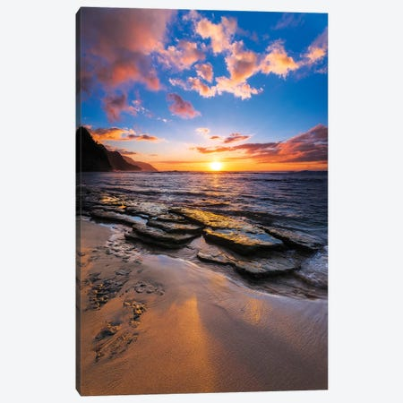 Sunset over the Na Pali Coast from Ke'e Beach, Haena State Park, Kauai, Hawaii, USA II Canvas Print #RBS40} by Russ Bishop Canvas Print