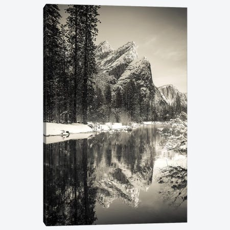 The Three Brothers above the Merced River in winter, Yosemite National Park, California, USA I Canvas Print #RBS46} by Russ Bishop Canvas Artwork