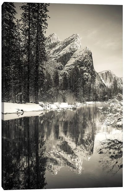 The Three Brothers above the Merced River in winter, Yosemite National Park, California, USA I Canvas Art Print