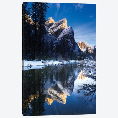 The Three Brothers above the Merced River in winter, Yosemite National Park, California, USA II Canvas Print #RBS47} by Russ Bishop Canvas Wall Art