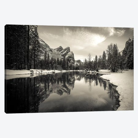The Three Brothers above the Merced River in winter, Yosemite National Park, California, USA III Canvas Print #RBS48} by Russ Bishop Canvas Print