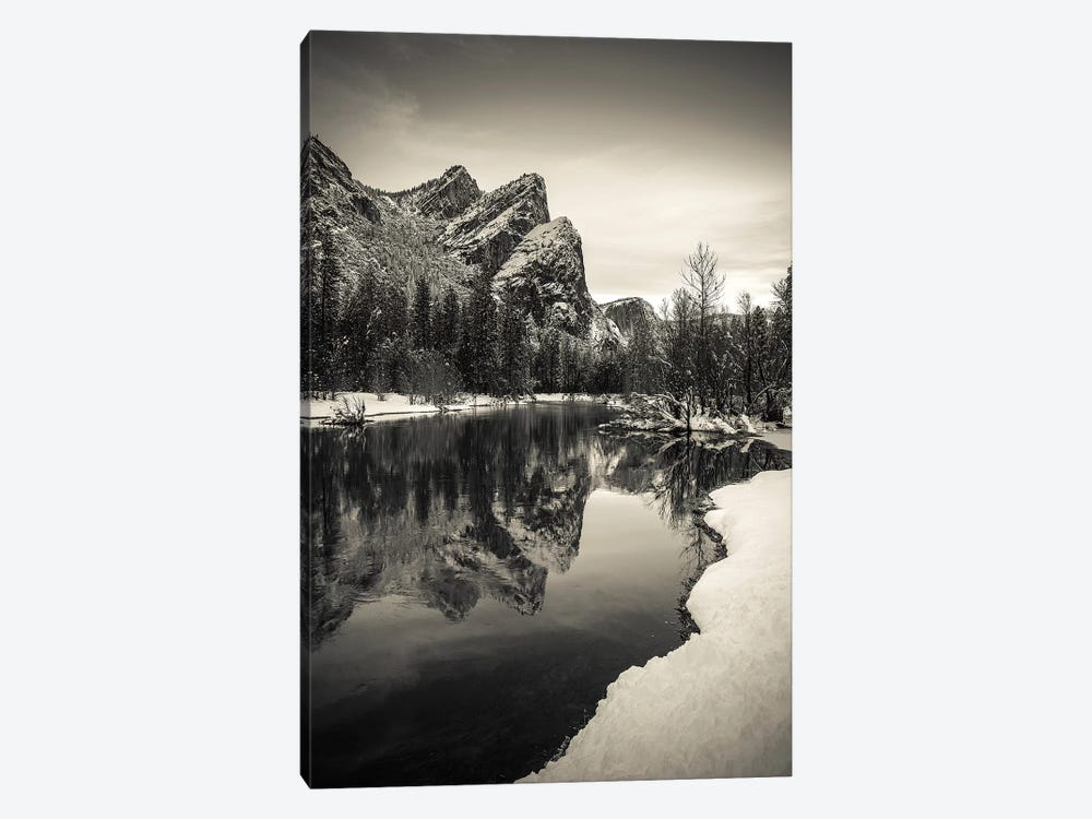 The Three Brothers above the Merced River in winter, Yosemite National Park, California, USA IV by Russ Bishop 1-piece Canvas Print