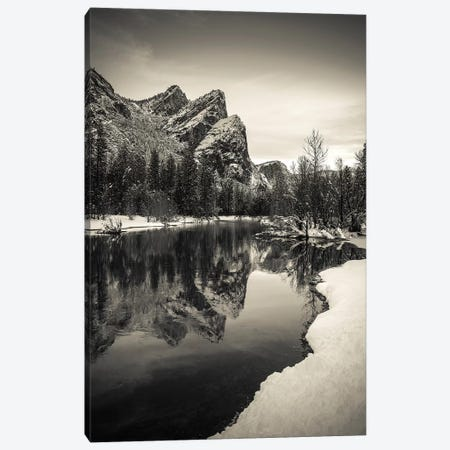 The Three Brothers above the Merced River in winter, Yosemite National Park, California, USA IV 3-Piece Canvas #RBS49} by Russ Bishop Canvas Art Print