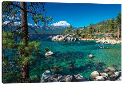 Boulders and cove at Sand Harbor State Park, Lake Tahoe, Nevada, USA Canvas Art Print