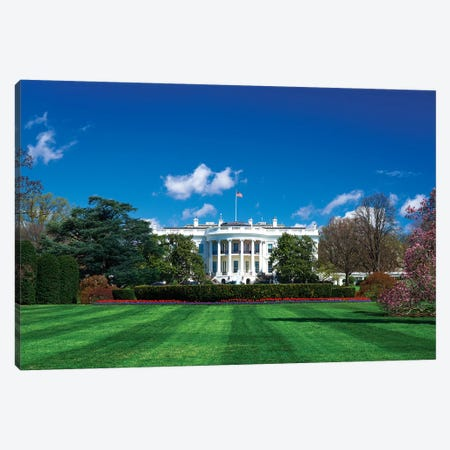 The White House and south lawn, Washington DC, USA 3-Piece Canvas #RBS51} by Russ Bishop Canvas Artwork