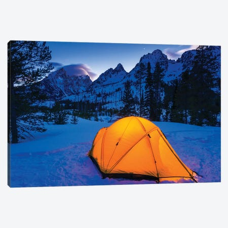 Winter camp at dusk under the Tetons, Grand Teton National Park, Wyoming, USA 3-Piece Canvas #RBS52} by Russ Bishop Canvas Wall Art