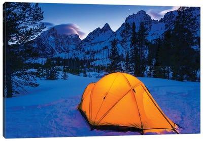 Winter camp at dusk under the Tetons, Grand Teton National Park, Wyoming, USA Canvas Art Print