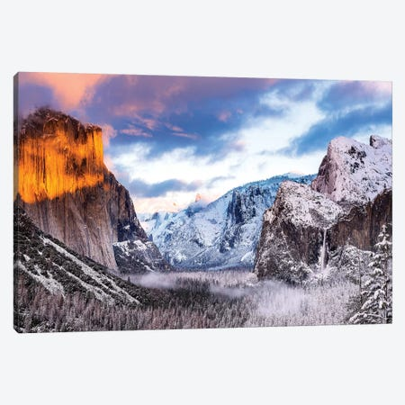 Winter sunset over Yosemite Valley from Tunnel View, Yosemite National Park, California, USA Canvas Print #RBS55} by Russ Bishop Canvas Art Print