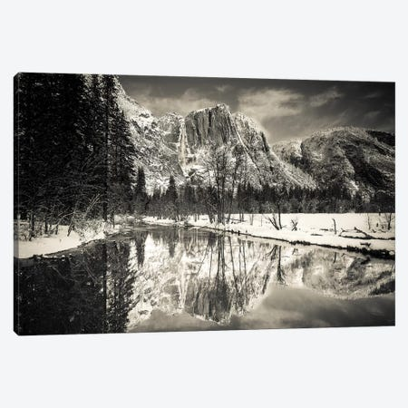 Yosemite Falls above the Merced River in winter, Yosemite National Park, California, USA 3-Piece Canvas #RBS56} by Russ Bishop Canvas Print