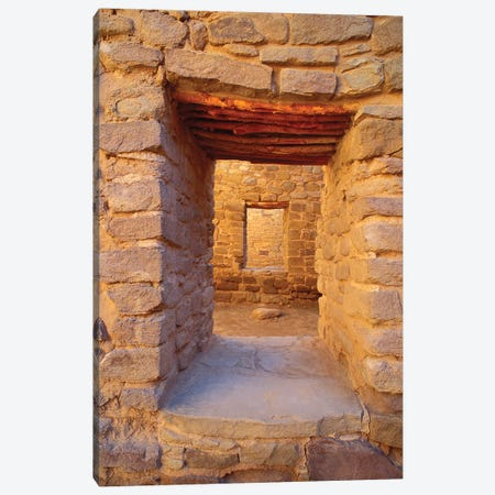 Interior doorways in the West Pueblo, Aztec Ruins National Monument, New Mexico, USA. Canvas Print #RBS59} by Russ Bishop Canvas Wall Art