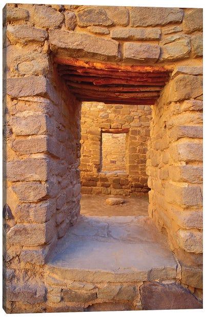 Interior doorways in the West Pueblo, Aztec Ruins National Monument, New Mexico, USA. Canvas Art Print