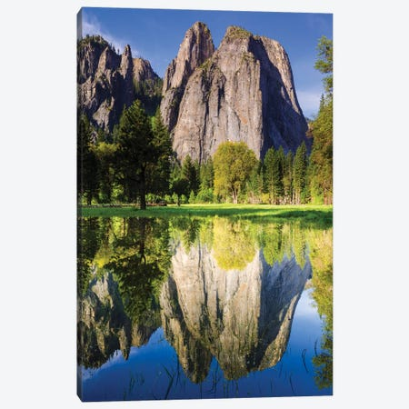 Cathedral Rocks reflected in pond, Yosemite National Park, California, USA. Canvas Print #RBS64} by Russ Bishop Canvas Wall Art